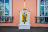 Monument to Saint Nicholas at the station in Bryansk, Russia. — Stock Photo