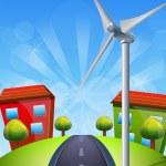 Wind turbine landscape — Stock Vector #70752335