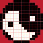 Yin yang pixel block craft — Stock Vector