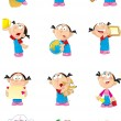 Girl in various poses — Stock Vector #52363671
