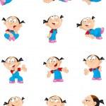 Cartoon girl in various poses — Stock Vector #52363673