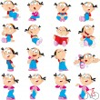 Funny girl in various poses — Stock Vector #52363677