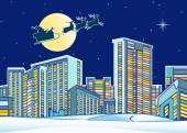 Santa Claus over the city — Stock Vector