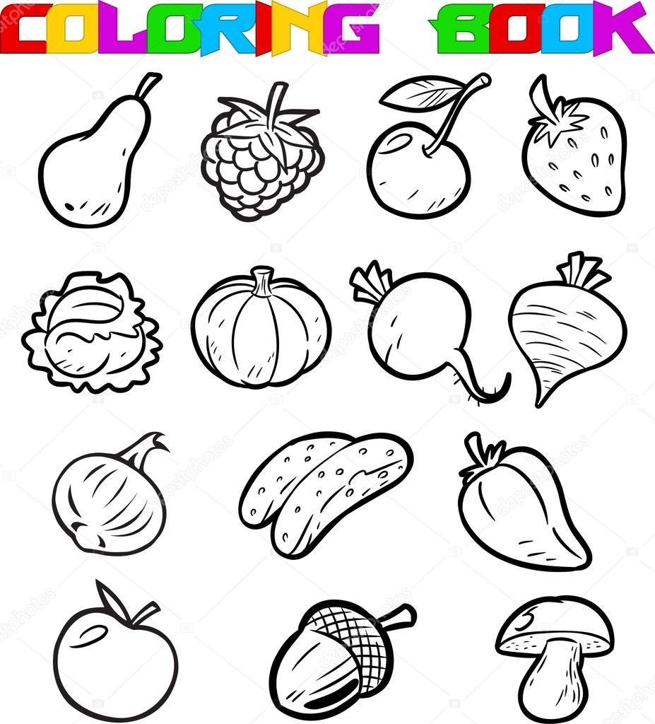 Фрукты и овощи раскраска на одном листе