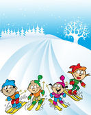 Family ski trip — Vector de stock