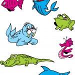Cartoon aquatic animals — Stock Vector #63433575