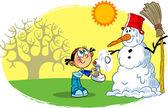 Snowman spring — Stock Vector