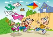 Summer children's pranks — Stock Vector