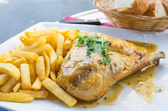 Fried chicken with golden French fries — Foto de Stock