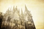 Vintage view of Gothic Cathedral in Cologne — Stock Photo