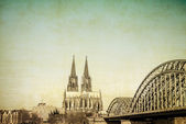 Vintage view of Gothic Cathedral in Cologne — Stockfoto
