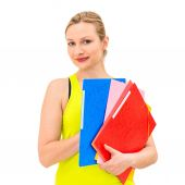Woman with a folder on a white background — 图库照片