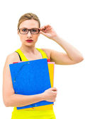 Woman with a folder on a white background — Stock Photo