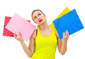 несчастная женщина с папками — Стоковое фото