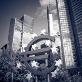 Euro Sign. European Central Bank (ECB) is the central bank for t — Stock Photo