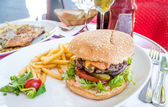 American cheese burger with Golden French fries — Стоковое фото
