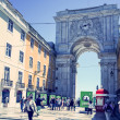 Street view of typical houses in Lisbon — Stock Photo #58598331