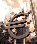 Frankfurt, Germany- Euro Sign, European Central Bank — Stock Photo