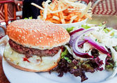 American cheese burger with Golden French fries — Stock Photo