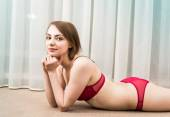 Attractive caucasian woman in lingerie — Stock Photo