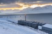 Barentsburg port  - Russian village on Spitsbergen — Stock Photo
