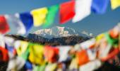 Mount Saipal with prayer flags — Foto Stock