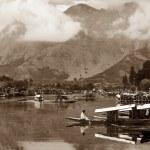 Shikara boats on Dal Lake with houseboats — Stock Photo #53095849