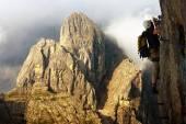 Climber on via ferrata or klettersteig in Italy — Stock Photo