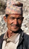 Nepal man with typical nepali hat on head — Stock Photo