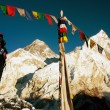 View of Everest with tourist and buddhist prayer flags — Stock Photo