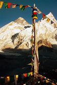 Evening view of Everest with buddhist prayer flags — Stock Photo