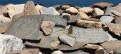 Mani wall and Tso Moriri lake — Stock Photo