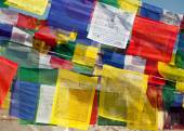 Prayer flags with stupas — Stock Photo