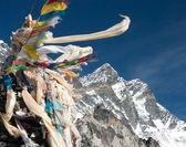 View of Lhotse peak with prayer flags — Stock Photo