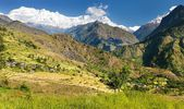 Beautiful village in western Nepal with Dhaulagiri Himal — Stock Photo
