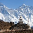 Stupa near Namche Bazar and Mount Everest and Lhots — Stock Photo #63656597