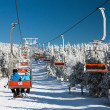 Chair lift on Mount Serak for downhill skiers — Stock Photo #64293975