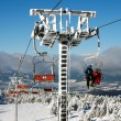 Chair lift on Mount Serak for downhill skiers — Stock Photo #66208373