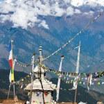 Ganesh Himal with stupa and prayer flags - Nepal — Stock Photo #70782817