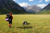 View from Altay range - Man with backpack on meadow — Stock Photo