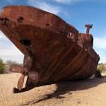 Boats in desert around Moynaq - Aral sea — Stock Photo #73376025