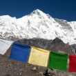 Mount Cho Oyu with prayer flags — Stock Photo #76270599