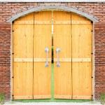Retro wooden door with brick wall background — Stock Photo #63476685