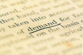 Focus demand word in vintage text book — Stock Photo