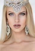 Posh blonde woman in tiara — Stock Photo