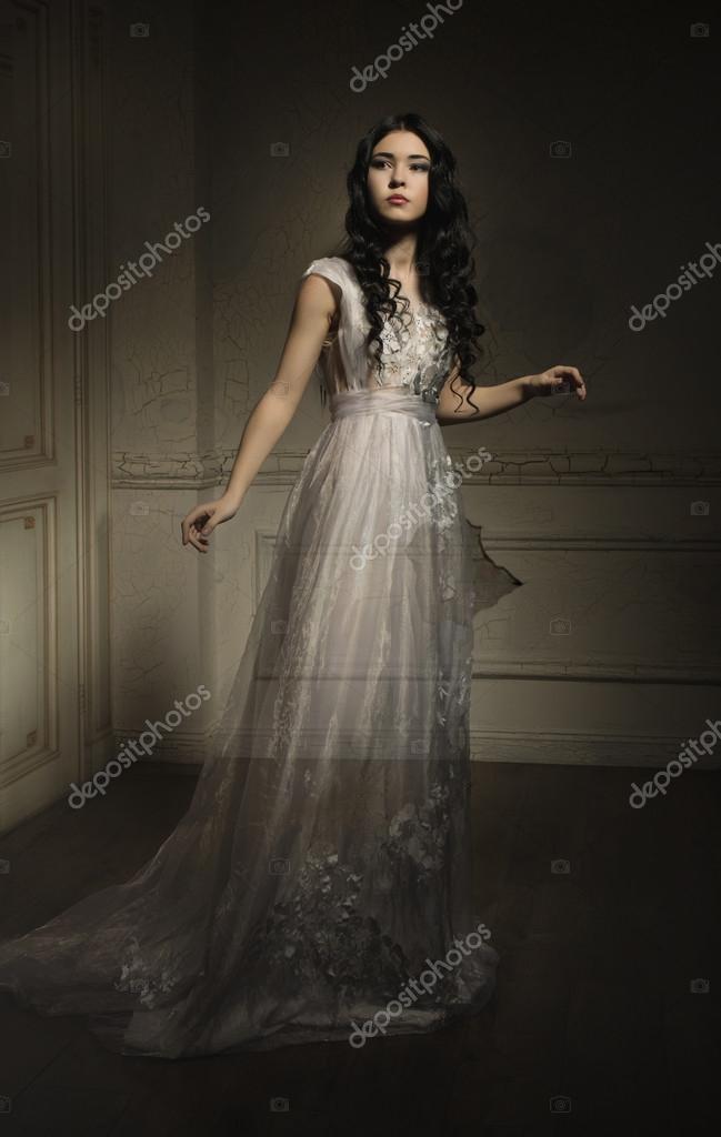 Ghost girl in white dress — Stock Photo #57291323