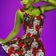 Pin-up woman with green skin — Stock Photo #57383703