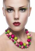 Woman with colorful necklace — Stock Photo