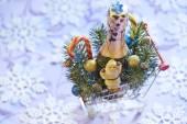 Vánoční složení s champagne, spořádáme a santa — Stock fotografie