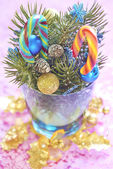Christmas bouquet with candy canes — Stock Photo